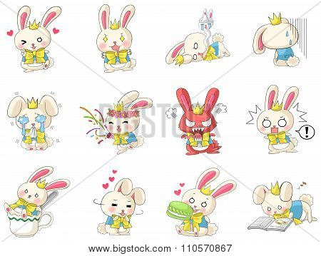 Cute And Funny Cartoon Rabbit Character Mascot With Costume In Various Action And Expression Icon Co