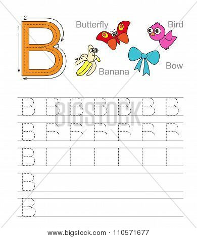 Letter B. Learn handwriting.