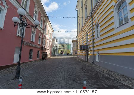VLADIMIR, RUSSIA -05.11.2015. Georgiyevskaya Street and oldest pharmacy in historic downtown. Golden