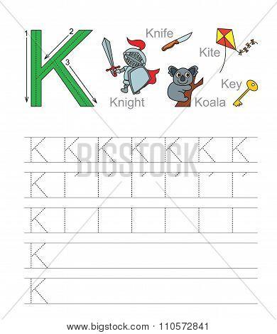 Letter K. Learn handwriting.