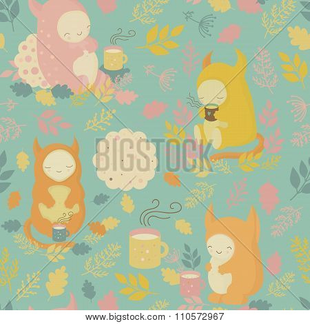 Seamless Pattern With Mugs Of Tea And Cookies