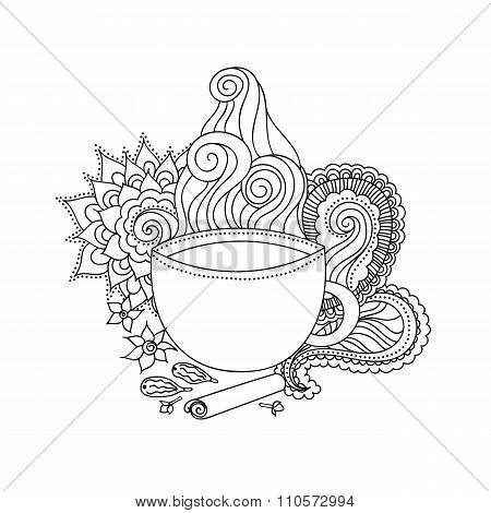 Cup Of Masala Tea And Flavoring, Ethnic Pattern