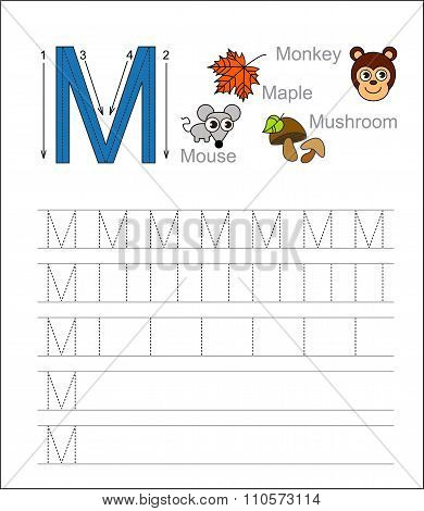 Letter M. Learn handwriting.