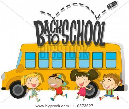 Back to school with children and schoolbus illustration
