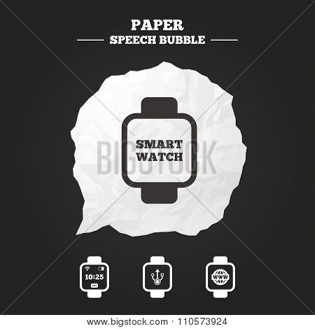 Smart watch icons. Wrist digital time clock.