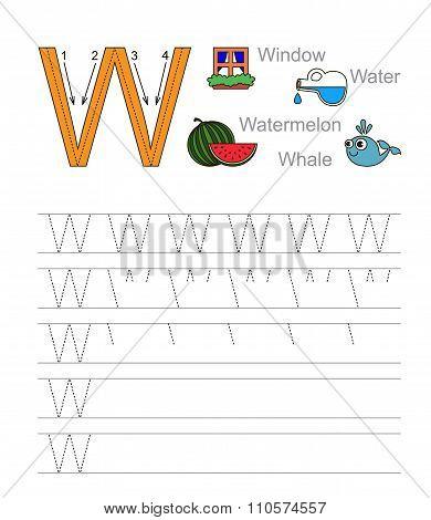 Letter W. Learn handwriting.