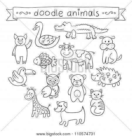 Cute Animals Doodle Set.