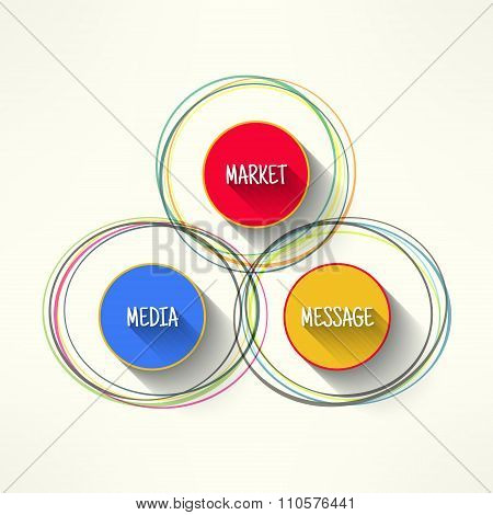 Vector media market message infographic in modern flat design. Corporate strategy schema with long s