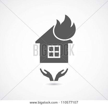 house icon fire with carring hands