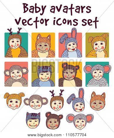 Baby children faces avatars icons set.