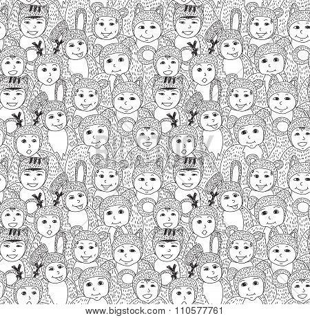 Big group children carnival costume animals seamless pattern.