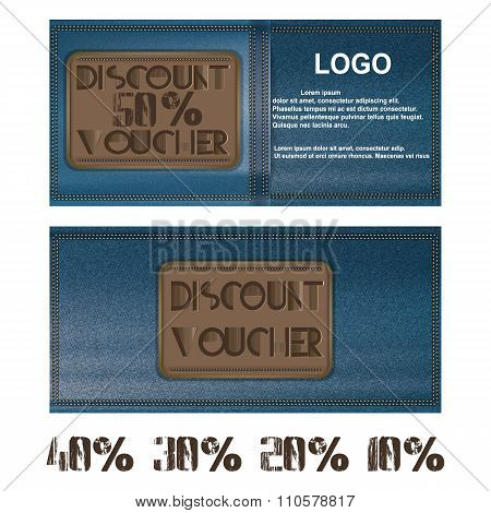 Discount Voucher For Jeans Background Blue