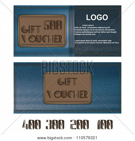 Gift Voucher For Jeans Background Blue