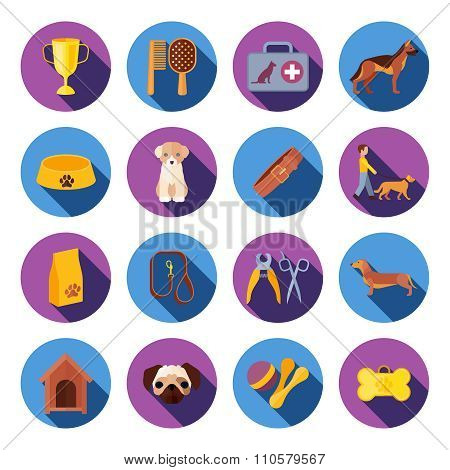 Dogs  round flat icons set