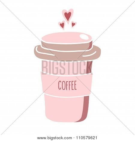 Hand drawn pink coffee to go cup with hearts