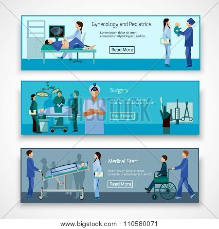 Medical professional 3 flat horizontal banners set  with obstetrician surgeon and newborn baby abstract isolated vector illustration
