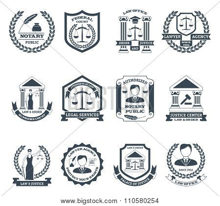 Lawyer Black White Logo Set