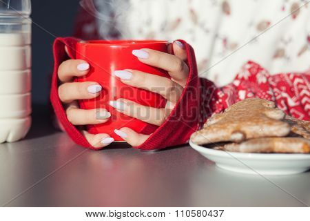 Close up of woman's hands holding cup of hot coffee drink. Christmas gingerbread on the table. Winter chill out and lifestyle concept.
