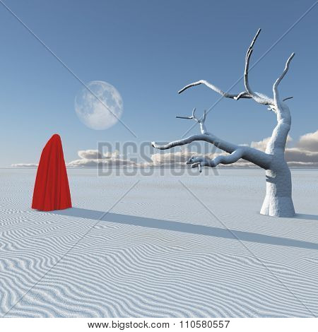 Surreal figure in desert