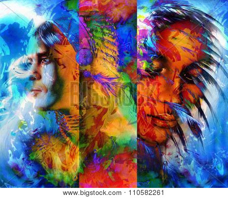 beautiful collage painting of an Indian man and young woman with feather headdress, and abstract col