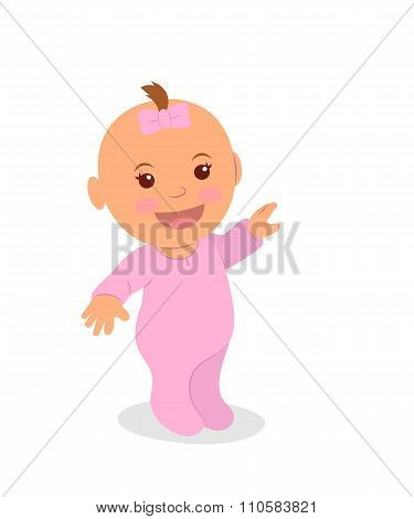 Cute little girl in pink pointing her finger. The newborn girl is isolated on a white background