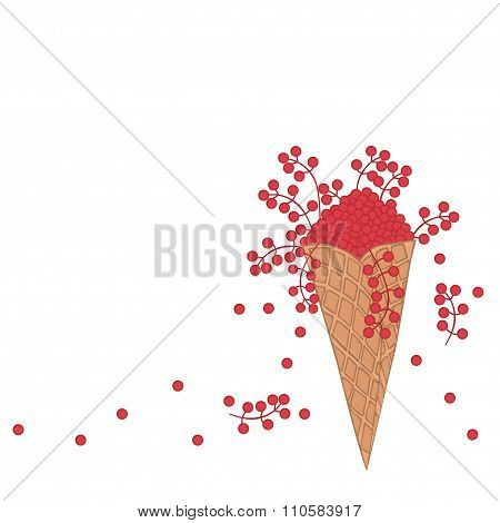 Doodle Wafer Cone With Fruits And Berry