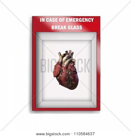 Emergency break glass box with human heart