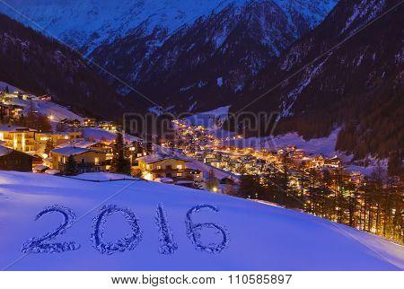 2016 on snow at mountains - Solden Austria - celebration background
