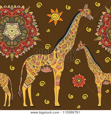 Beautiful adult Giraffe. Hand drawn Illustration of ornamental giraffe.  isolated giraffe on brown b