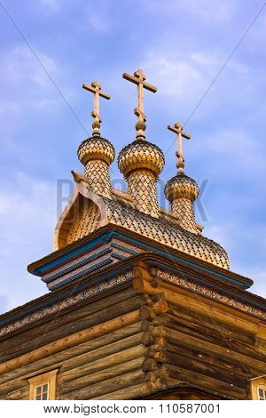 Wooden church in park Kolomenskoe - Moscow Russia