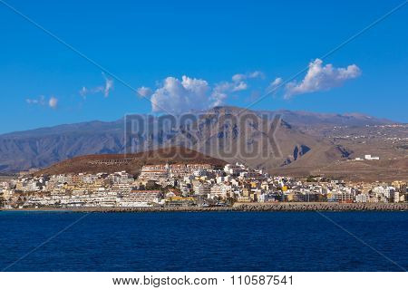 Beach Los Cristianos in Tenerife island - Canary Spain