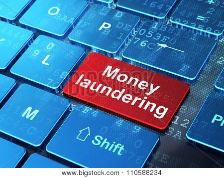 Money concept: Money Laundering on computer keyboard background