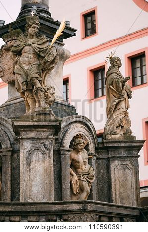Detail of Column. Statue on main town square in Cesky Krumlove,