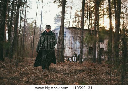 Unidentified re-enactors dressed as german wehrmacht soldier