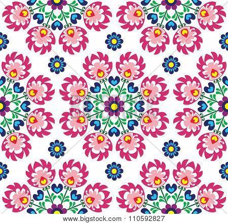 Seamless floral Polish folk art pattern - Wzory Lowickie, Wycinanki