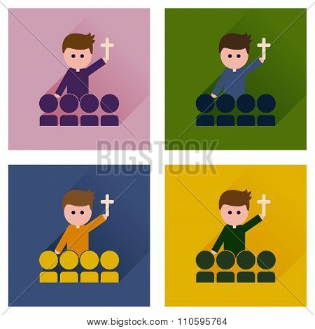 Concept of flat icons with long shadow Catholic priest