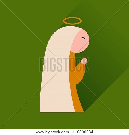 Flat icon with long shadow Virgin Mary