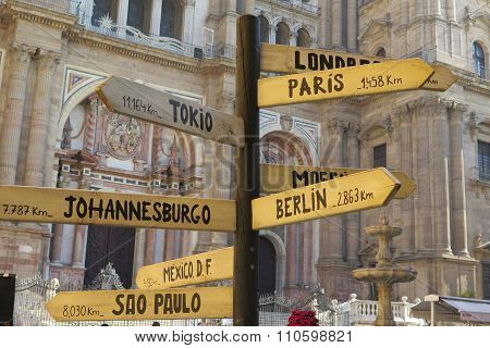 Signpost In Malaga Square
