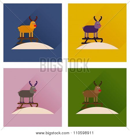 Concept of flat icons with long shadow Reindeer sledging