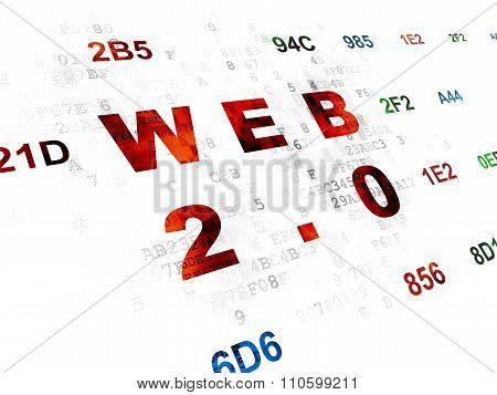 Web development concept: Web 2.0 on Digital background