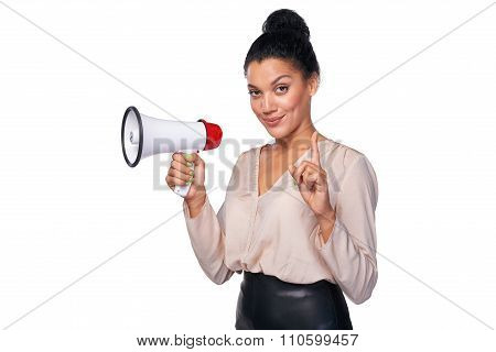 Woman hold loudspeaker