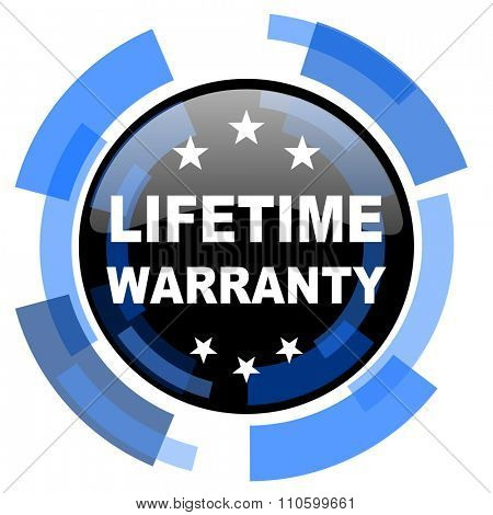 lifetime warranty black blue glossy web icon