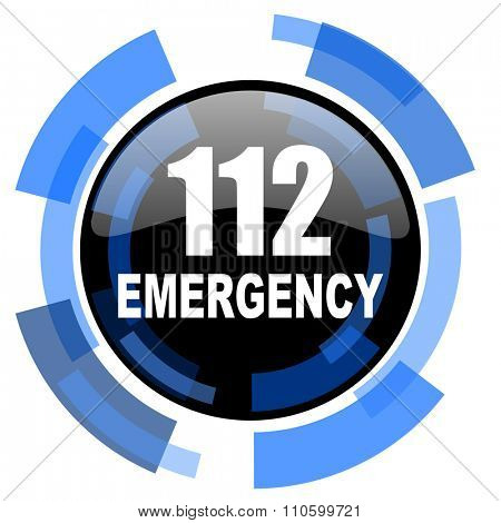 number emergency 112 black blue glossy web icon