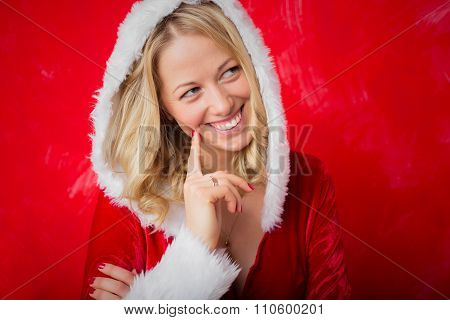 Naughty woman in red Santa costume
