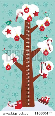 Big tree with white snow on the branches, birds, red christmas decorations. Candy, balls, stars, soc