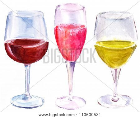 Watercolor set of three wine glasses (with red wine, sparkling rose and white wine)