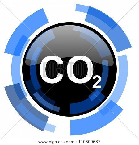 carbon dioxide black blue glossy web icon