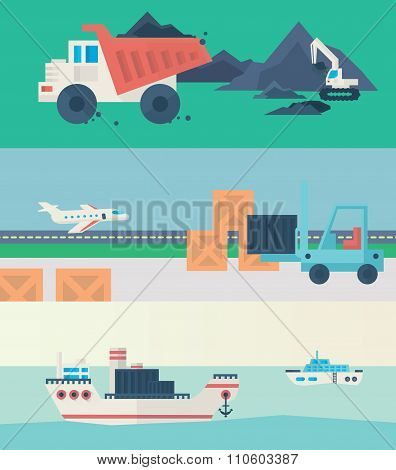 Flat banners set of logistic process