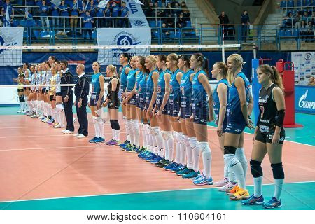 MOSCOW RUSSIA - DECEMBER 2: Team Dynamo before the game on women's Rissian volleyball Championship game Dynamo (MSC) vs Dynamo (KZN) at the Luzhniki stadium in Moscow Russia. Kazan won in serie 3: 2