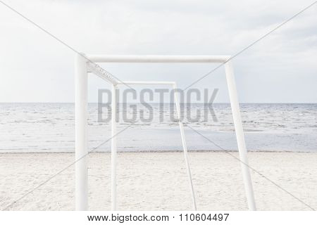 Woodwork For Beach Soccer On The Beach Of The Baltic Sea